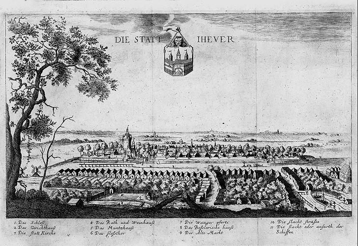 """Stadtansicht Jever, Radierung, Heinrich van Lennep aus der Chronik """"Oldenburgische Friedens- und der benachbarten Oerter Kriegshandlungen"""" von Johann Just Winkelmann, 1671."""